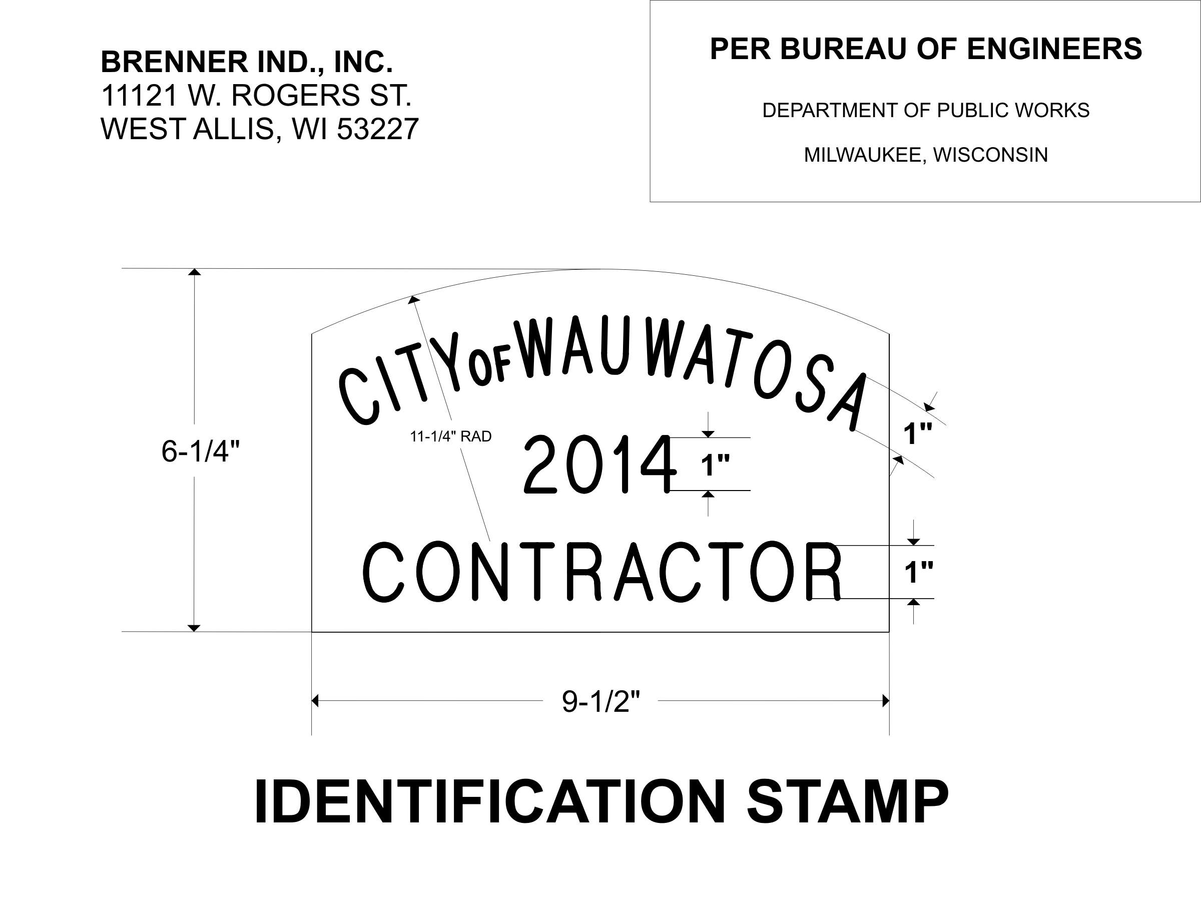 """Concrete Stamps"" CONCRETE IDENTIFICATION STAMP DPW SPEC SHEET"