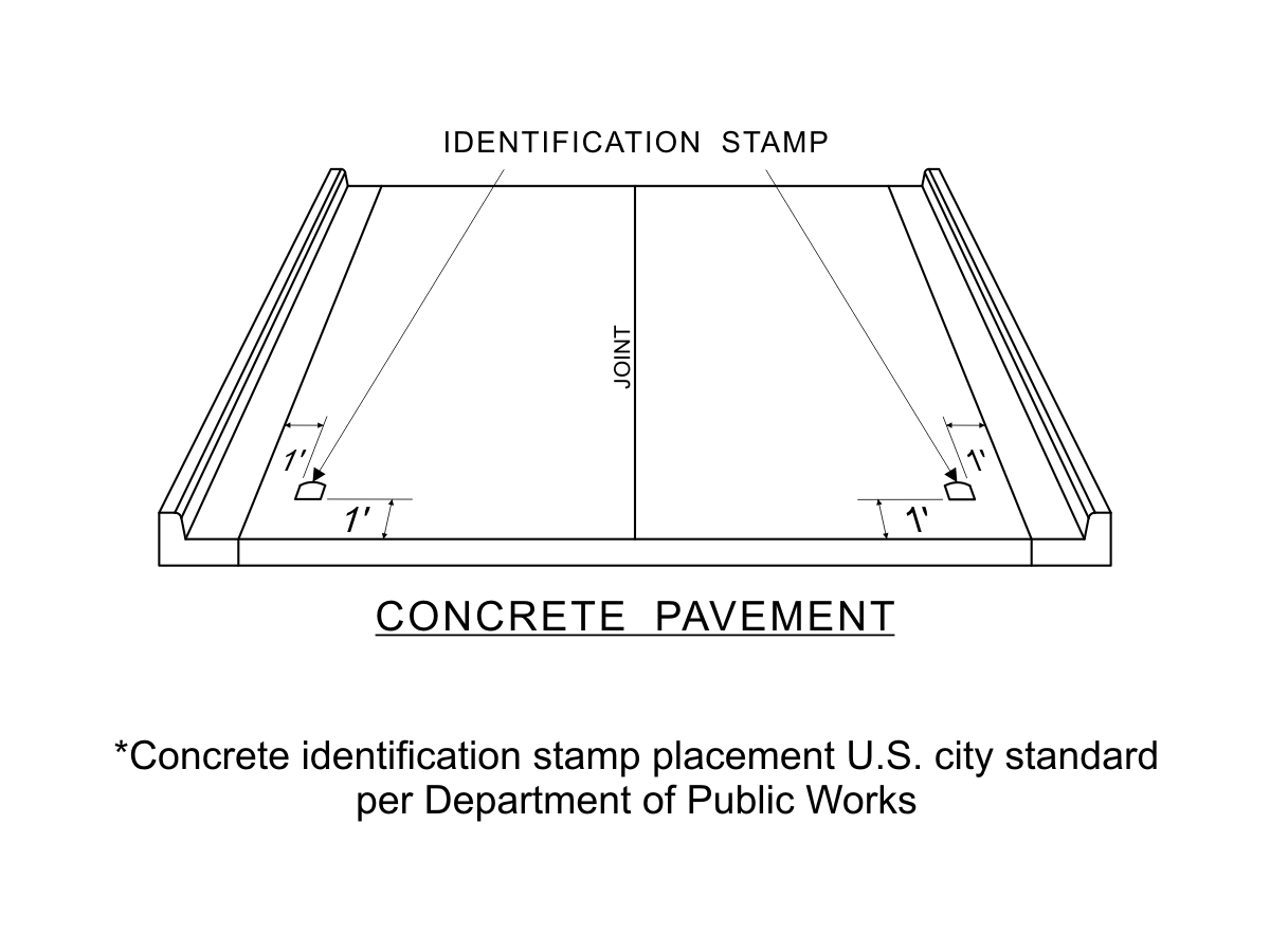 Contractor Concrete Identification Stamp Placement Per Department of Public Works